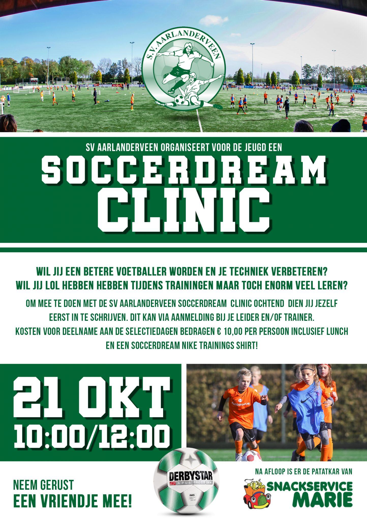 Annulering Soccerdream clinic van 21 oktober