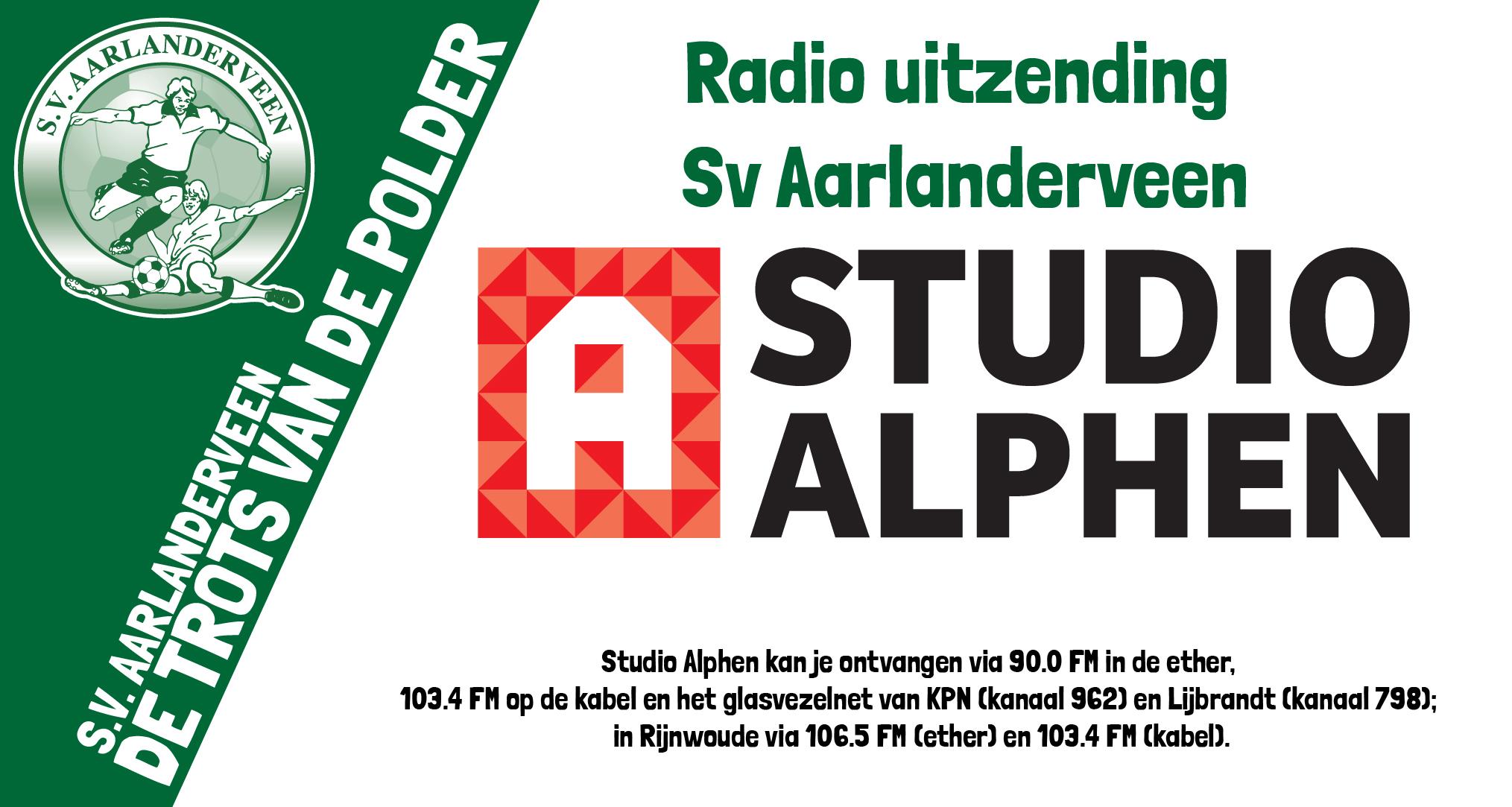 Volg SV Aarlanderveen - CVC Reeuwijk zaterdag live op de radio