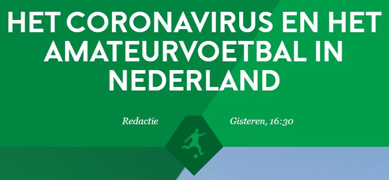 Update over Coronavirus in amateurvoetbal